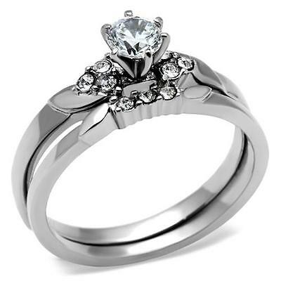 Stainless Steel His & Hers Round CZ Wedding Engagement 3PC Bridal Ring Band Set