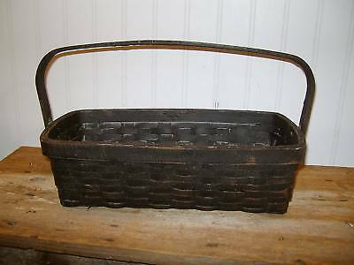 Primitive Style GRUBBY GATHERING BASKET With Handle Grungy Distressed Black