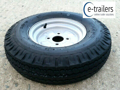 500 x 10 6ply TRAILER TYRE ON 4 STUD M12 100mm PCD WHEEL - 440Kg rating