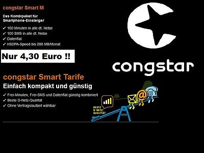 Congstar Smart M 100 min Freiminuten in alle Netze Datenflat 200 MB