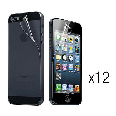 12pcs Clear Front and Back Screen Protector for iPhone 5 5C (Glossy)