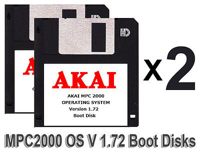 TWO Akai MPC 2000 Start UP Boot Disks Operating System Version 1.72 Floppy