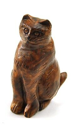 5 x CAT Kitty BOXWOOD Natural Wood Hand Carved Carving Figurine Miniature Mixed