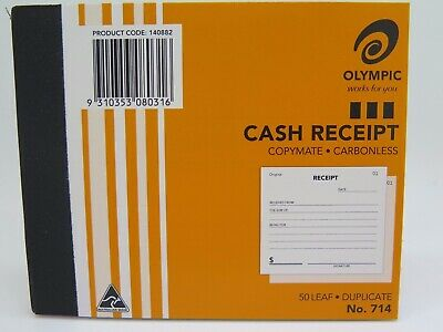 Olympic #714 Cash Receipt Book Duplicate 125x100mm 50Lf 140882