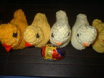 TWO hand knitted easter chicks all proceeds to cancer research BUY 4 THIS APPEAL