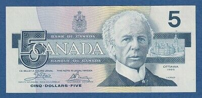 CANADA -- 5 DOLLARS ( 1986 ) -- UNC -- SIGN CROW-BOUEY -- PICK 95a .