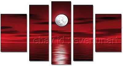 5 pcs Hand-painted Modern Abstract Wall Decor Art Seascape Canvas Oil Paintings