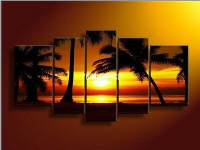 5 Piece Wall Art Pictures Beach Palm Tree Sunset Yellow Oil Painting On Canvas