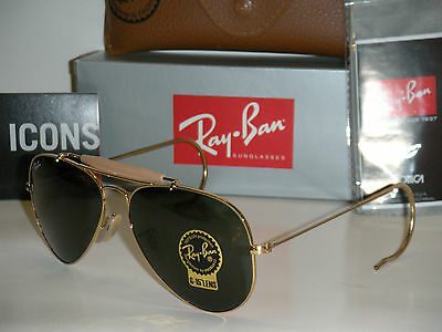 Ray Ban 3030 Outdoorsman Gold Frame With G-15 Green Lenses Rb 3030 L0216 58Mm
