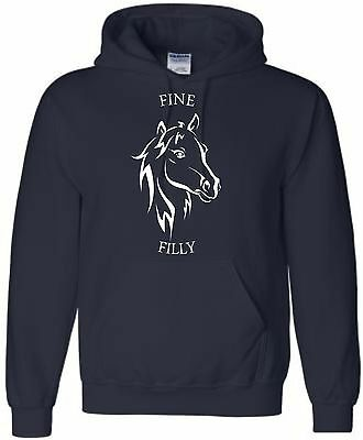 Kids Fine Filly Hoodie Personalised Horse Hoody Funny Horse Horseriding Riding
