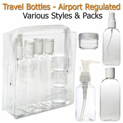 HOLIDAY TRAVEL BOTTLES - 100ML Clear Bottles & Bags- Airport Security Approved