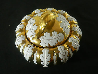 Italian Pottery/1976/Gold and White Leaf/Candy Dish With Lid  /Hand Thrown
