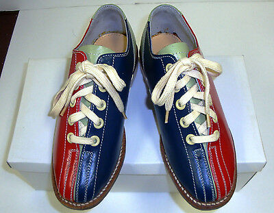Youth Girls Boys Rental Bowling Shoes Size 3 1/2 Blue Red Green Leather -NEW