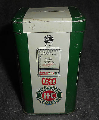 old tin litho Sinclair Gasoline advertising gas pump bank