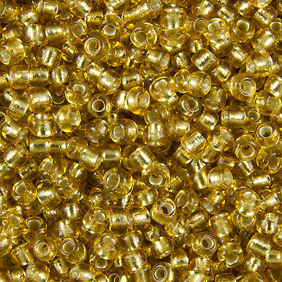 1KG Gold Silver Lined Round Glass Seed Beads Size 11/0 2mm
