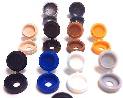 SMALL & LARGE HINGED SCREW COVER CAPS PACKS 25 50 100 Gauge No. 6 8 10 12