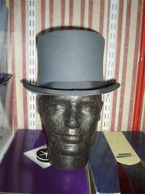 SUPERB VINTAGE GREY TOP HAT 6 7/8 by MONSIOUR PHILIPPE of LONDON & PARIS