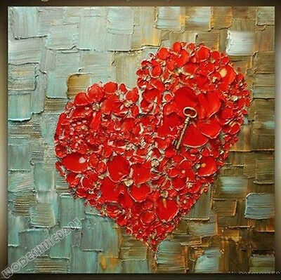 Modern Hand-painted Oil Painting Love Heart Home Decor X