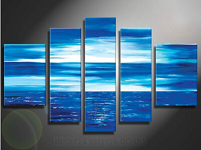 NO Frame Hand-painted Abstract Blue Landscape Large Canvas Oil Painting