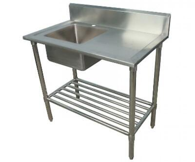 600x1000mm NEW COMMERCIAL SINGLE BOWL KITCHEN SINK #304 STAINLESS STEEL BENCH E0