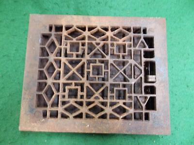 Antique Cast Iron Floor Wall Register Heat Grate Geometric Vintage 3051-14