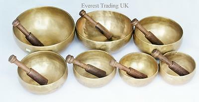 Nepalese Hand Made Complete Set Of 7  Chakra Singing Bowl With Great Sounds