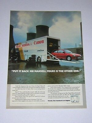 Honda Civic GT Advert from 1985 - Original Ad Advertisement