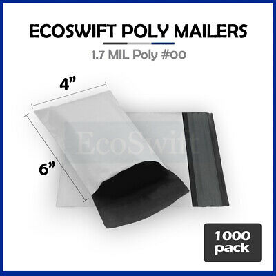 1000 4x6 White Poly Mailers Shipping Envelopes Self Sealing Bags 1.7 MIL 4 x 6