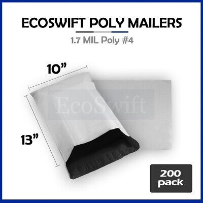 200 10x13 White Poly Mailers Shipping Envelopes Self Sealing Bags 1.7 MIL