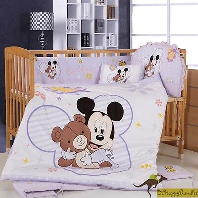 Baby Boys Girls 8 Pieces Disney Mickey 40S Cotton Nursery Bedding Crib Cot Sets