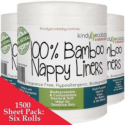 1320 Bamboo Flushable, Diaper Nappy Liners, Natural, Disposable 6 Rolls