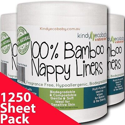1320 Bamboo Flushable, diaper nappy Liners, natural, biodegradable, disposable