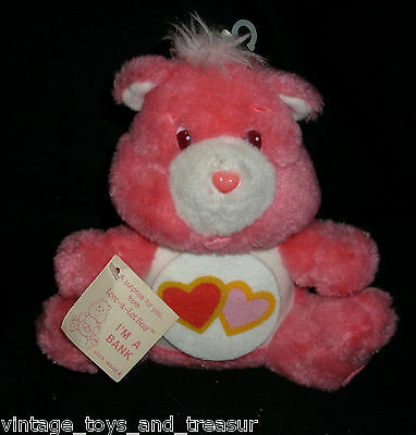 "9"" Vintage 1984 Care Bears Love A Lot Bear Pink Stuffed Animal Plush Toy Bank"