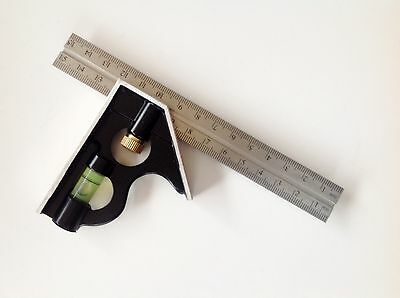 """Combination Square 6"""" 150Mm Spirit Level Angle Finder Set Stainless Steel Ruler"""