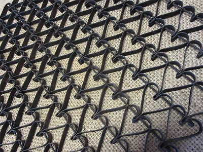 Vintage Metal Linked Floor Mat Heart Design > Antique Old Welcome RARE! 8740