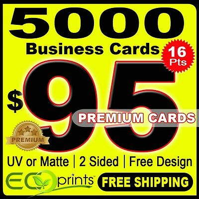 5000 Full Color Business Cards Printing, 16 pts, 2 Sides FREE SHIPPING + DESIGN