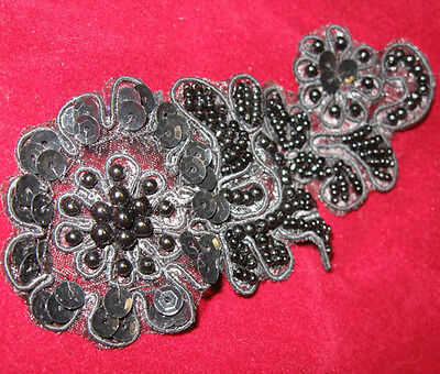 GUNMETAL SEQUIN BEADED EMBROIDERED FLOWER APPLIQUE  2593-D