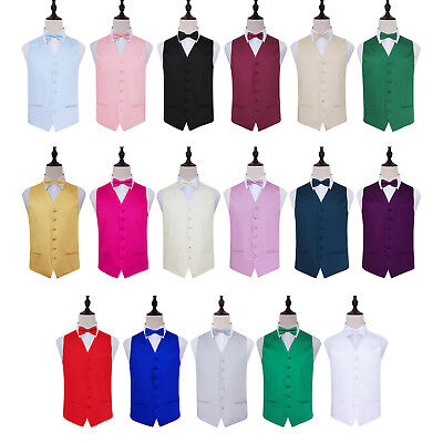 "DQT Premium Satin Solid Plain Wedding Men's / Boys Waistcoat & Bow Tie 22""-50"""