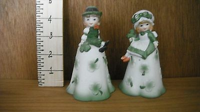 2 IRISH Bells.  Leprechaun and Lass decorated with Shamrocks. 1970s Old but New.