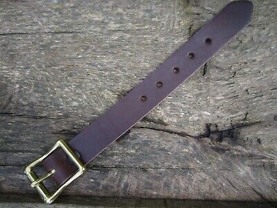 "UTILITY STRAP REAL LEATHER 19mm (3/4"") wide  SOLID BRASS BUCKLE VARIOUS LENGTHS"