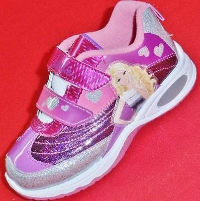 Girls Toddler BARBIE Pink+Silver+Purple Glitter Light Up Fashion Sneakers Shoes
