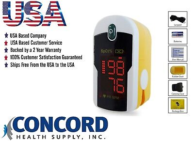 Fingertip Pulse Oximeter with case, lanyard and batteries - The Concord Topaz