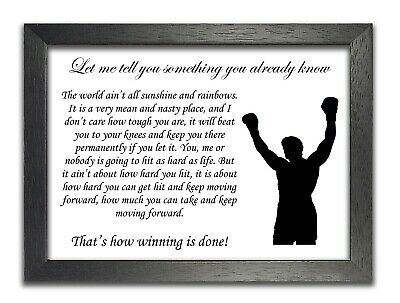 MOTIVATIONAL QUOTE POSTER PRINT ROCKY ANGEL ON YOUR SHOULDER  INSPIRATIONAL