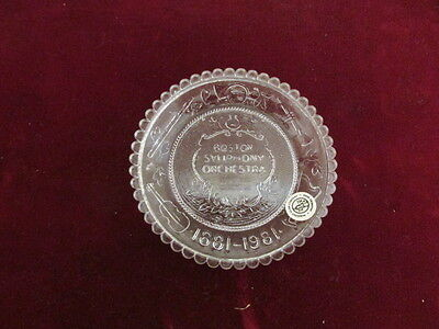 Vintage Crystal Boston Symphony Orchestra 1881-1981 Cup Plate NOS, Pairpoint