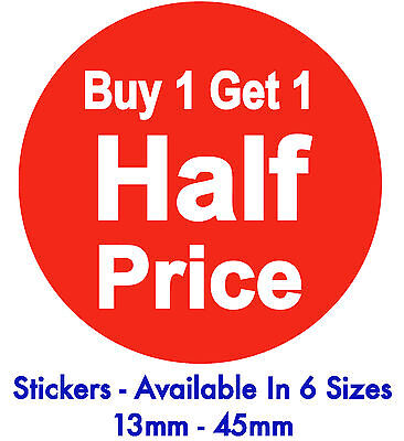 Buy 1 Get 1 Half Price Bright Red Promotional Stickers / Sticky Labels / Tags