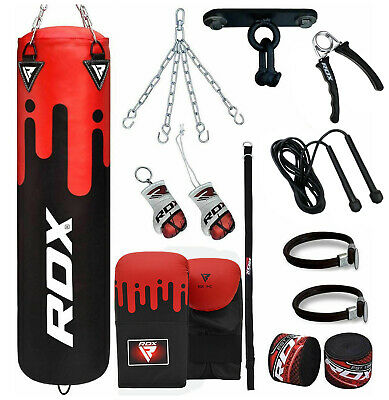 RDX Filled Punch Bag 5ft Kick Boxing Set Gloves Chains Ceiling hook MMA Training
