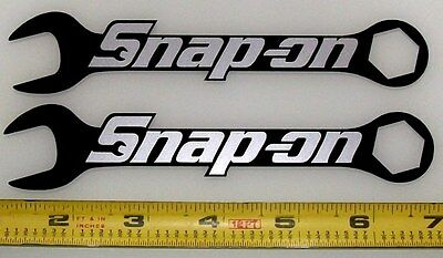 "Snap On Logo on Wrenches! Silver Met on Black! HQ Vinyl Sticker Decals 6x1.2""/2!"