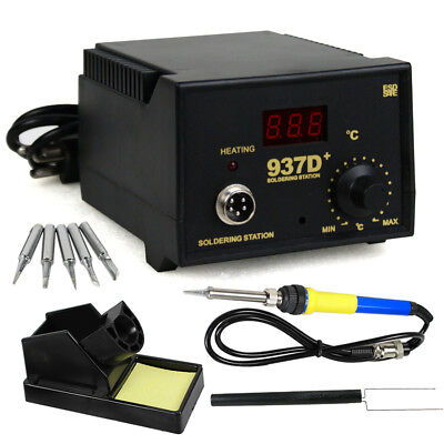TOP Soldering Station JP Heater Iron Welding Solder SMD 5 Tips Stand ESD 937D+