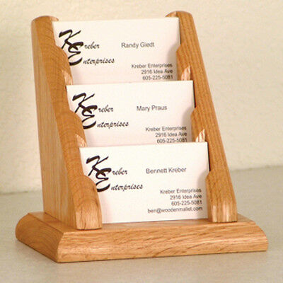 Wooden Mallet 3 Pocket Countertop Business Card Holder- BCC1-3LO NEW