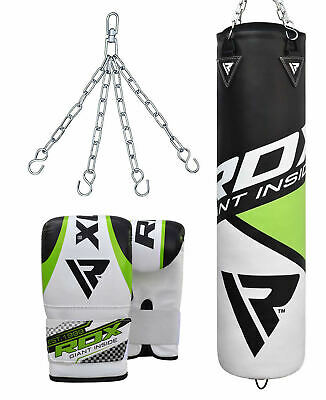 RDX Leather Punching Bag Stand Unfilled Training Mitts MMA Gloves Chains Green
